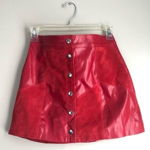 Forever 21 Red Leather + Suede Button-front Skirt